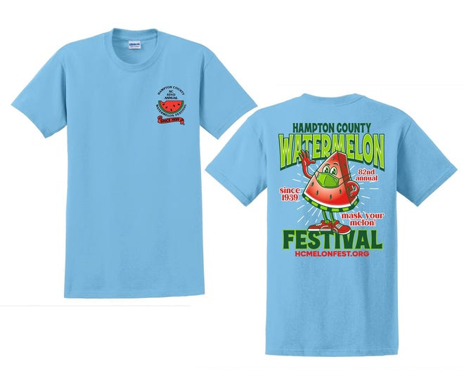 """This year's official Hampton County Watermelon Festival T-shirt has a """"Mask Your Melon"""" theme."""
