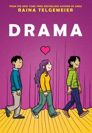 """""""Drama,"""" written and illustrated by Raina Telgemeier, is at the center of a debate on what books should be allowed in Columbia County schools and how the district should notify parents of materials like it."""
