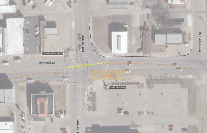 Street light circuit repairs at the intersection of N. Vine St and E. Central Ave