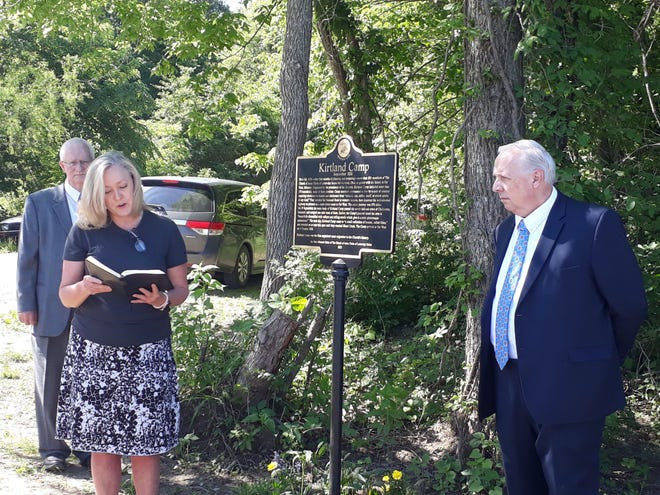 Catherine Hamilton and Michale D. Hall at the marker dedication.