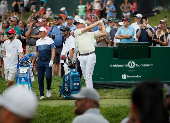 Bo Hoag tees off on 15 during the final round of the Memorial Tournament at Muirfield Village Golf Club in Dublin, Ohio on Sunday, June 6, 2021.