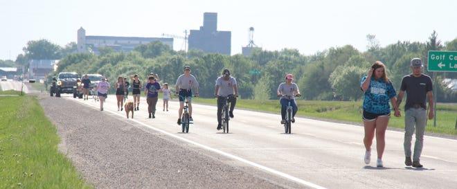 Participants in the Walk/Bike/Run at Climax Saturday