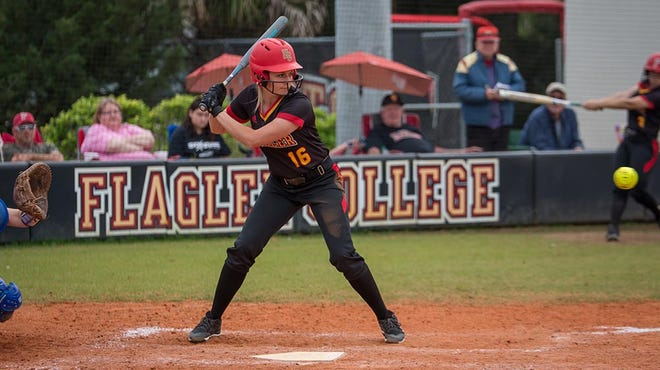 Cassie Patterson at the plate during her playing career at Flagler College. Patterson, a graduate of Umatilla High School, recently was named the Bulldogs head softball coach. [KRISTEN OVERTON / FLAGLER COLLEGE]