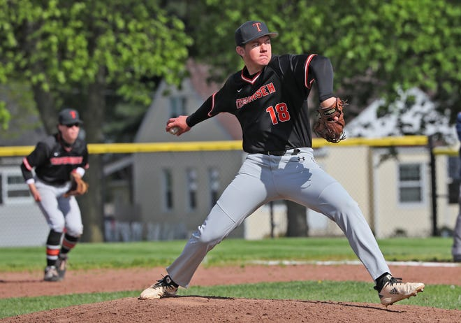 Tecumseh pitcher J.J. Arbini (18) delivers a pitch during a game at Adrian in a Southeastern Conference White Division contest on May 5.