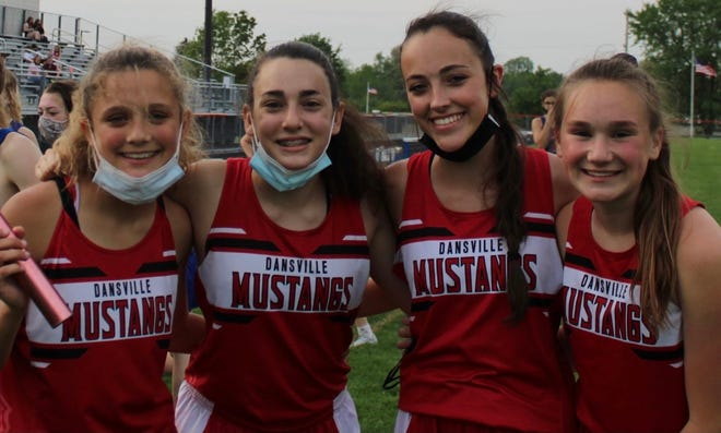 Kali Meyer, Brianne Hurlburt, Riley Nagle and Maggie Bacon finished in first-place in the 4x800m relay at LCAA Division I Track & Field Championships Saturday at Caledonia-Mumford.