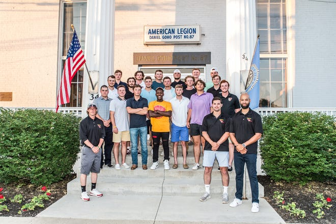 The 2021 Dansville Gliders gather for a photo outside the Dansville American Legion before kicking off the franchise's inaugural season.