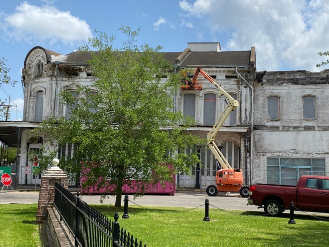 Construction crews have been working on the historic B. Lemann and Bro. building in Donaldsonville over recent months. This scene was captured in late April.