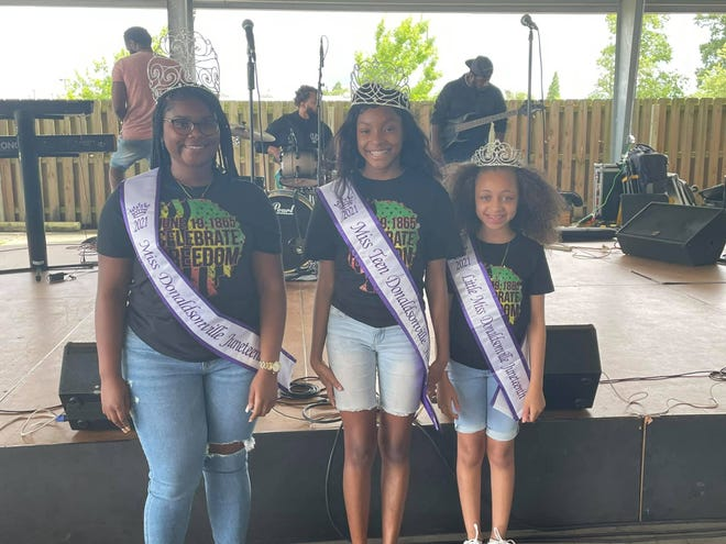 The 2021 Juneteenth Music Festival pageant queens are: Miss Donaldsonville Juneteenth Laila Cost, Miss Teen Donaldsonville Juneteenth Jaionne Aubert, and Little Miss Donaldsonville Juneteenth Raenn Patterson.