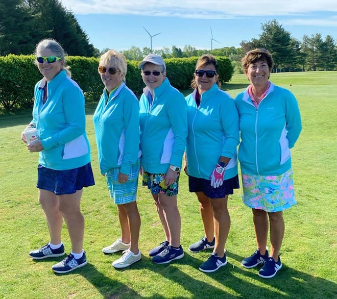 Competing in the Mass Golf Spring Team Matches on behalf of Gardner Municipal was the team of (from left to right): Aileen Iverson-Doyle, captain Judy Walker, Mary Glotch, Sue Tourigny and Kim Bellio.