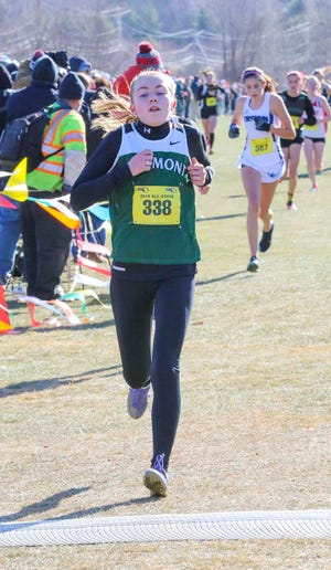 Oakmont junior Fiona Picone, shown in this file photo competing in the 2019 state cross country championships, broke the school record for the mile, Saturday, June 5, 2021, at the Lou Tozzi Invitational at Gordon College in Wenham.