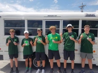 Geneseo JV Tennis Team members were champions in the recent LaSalle-Peru Tennis Team Challenge, and they are, from left, Sam Mosbarger, 1 singles; Eric Vergane, 1 doubles; Connor Nelson, 1 doubles; Gavin Nicke, 2 doubles; Henry Lehman, 2 singles and Isaac Better, 2 doubles. Geneseo did not lose a match and competed against LaSalle- Peru, Coal City and Mendota. The team is coached by JV coach Josh Plant.