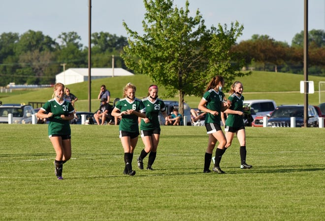 Team members, from left, Allison Griffin, Taylor DeSplinter, Mikala Warner, Jordan Porter and Chloe Adams were all part of the win for Geneseo over Orion –Sherrard in the first round of postseason soccer play.