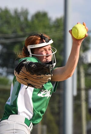 Anna Narup throws a shut out for Geneseo against Rochelle in the first game of Regional competition.