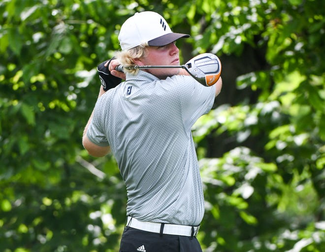 Bloomington South's Drew Todd hits a tee shot during the IHSAA boys' golf sectionals at Cascades Golf Course June 7.