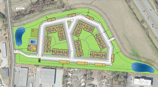 Pictured is the conceptual site plan for a proposed 276-unit apartment development on South Allen Road in Flat Rock.
