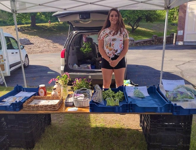 STERLING - Town resident Sage Bauman staffs the table for her family's farm, B&B Farms in New Braintree, at the Sterling Farmers Market. B&B offers dried herbs, vegetable and flower plants, produce, and more. The market is open from 3 to 6:30 p.m.