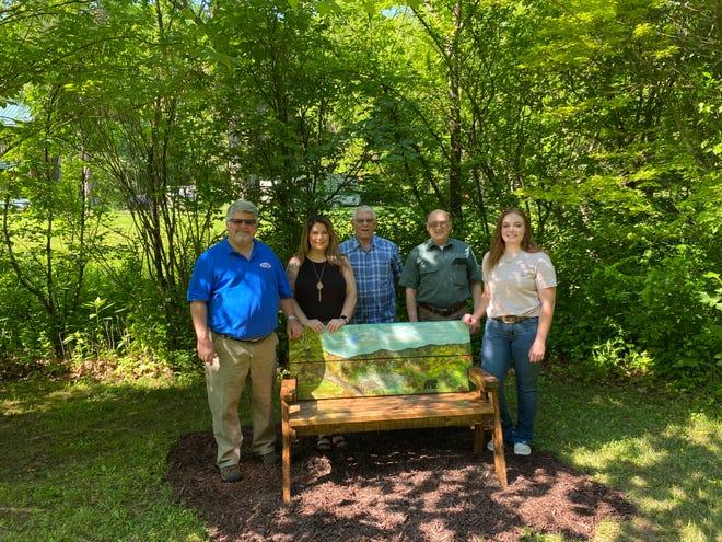 (L TO R) Keyser Tourism Director Ashley Centofonti, Commisioner Roger Leatherman, Commisioner Dr. Rick Lechliter and Jada Fleming pose for a photo at the Larenim Park in Burlington, June 5 .