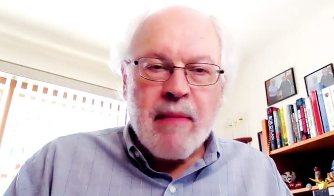 This is a screen capture of Alan Robock addressing a virtual Friends of Oak Ridge National Laboratory (FORNL) meeting on nuclear war and its potential impact on the world and its inhabitants.