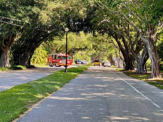 Fire trucks are on the scene between Kawama Lane and Phipps Estate on North County Road due to live wires on the ground.