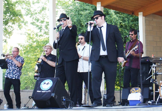 The Blooze Brothers kick out a tune at Humiston-Riverside Park.