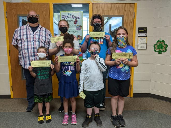 Several students at Vanderbilt Area School were recognized as Yellow Jackets of the Month for May. Pictured are (back row, from left) school principal Matthew Saunders, Grace Snyder, Dylan Gerrick, (front row) Peyton Reynolds, Nirvana Porter, Skyler Hooke and Rihanna McDowell.
