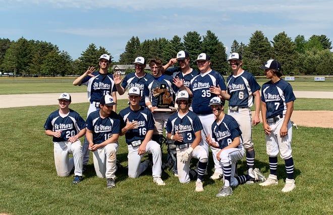 The Gaylord St. Mary baseball team earned a fifth straight district championship Saturday after defeating Onaway on their home field in Gaylord.
