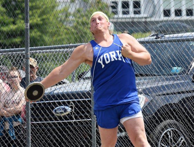York's Matt Charpentier won the discus at Saturday's Class B state meet.