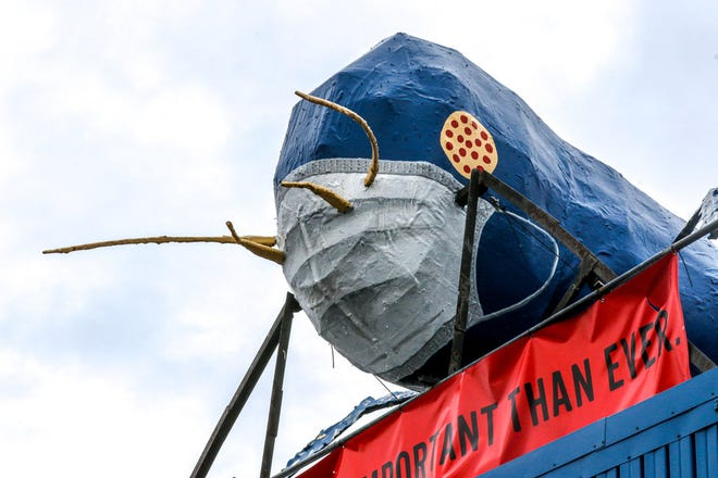 The Big Blue Bug will have to wear his COVID-19 mask a while longer, as he'll have a refurbishment later this summer. The iconic termite donned the mask last year as a tribute to health-care workers and to encourage mask wearing.