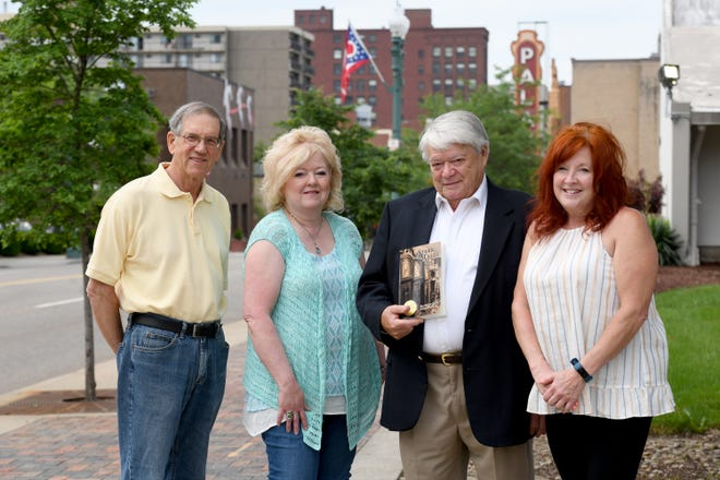 """The Greater Canton Writers' Guild has published the """"Stark Tales"""" anthology. Four of the contributing authors are shown from left: Ron Luikart, Mela Saylor, Edward Klink and Jean Trent. The mosaic novel blends fiction with Stark Count settings and historical events."""