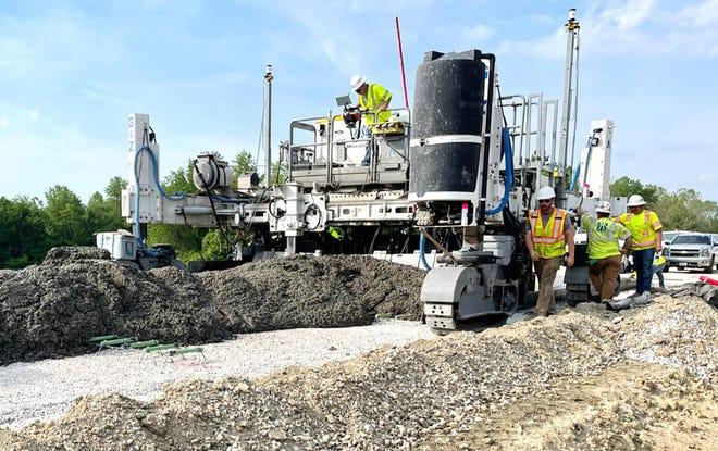 Crews work along the future I-69 corridor near Martinsville.