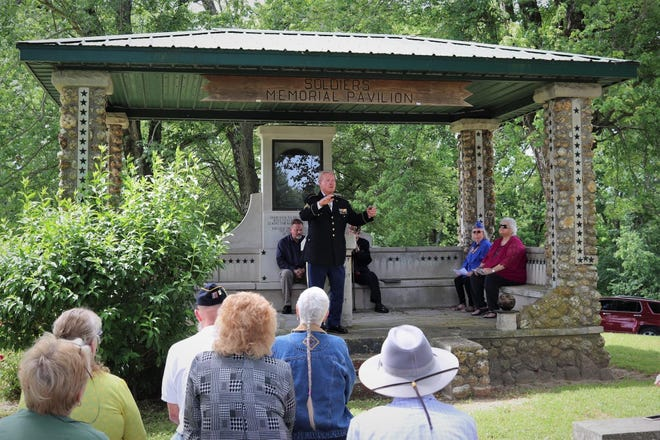 Local resident and Medal of Honor recipient Sammy Davis speaks at the annual Memorial Day service at Riverside Cemetery. More from local services is featured in today's Spencer Evening World.