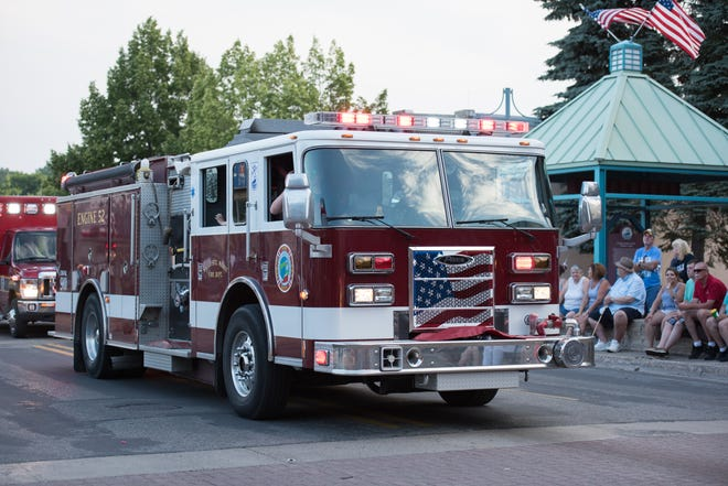 A photo of a firetruck during the 2018 Fourth of July parade in the Sault.