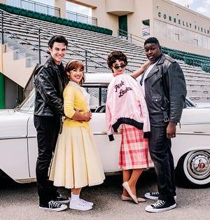 "Lyric's outdoor production of ""Grease"" will feature (from left) Joe Caskey (Danny), Sydney Jones (Sandy), Gabby Rae Jimenez (Rizzo) and Caleb Barnett (Kenickie)."