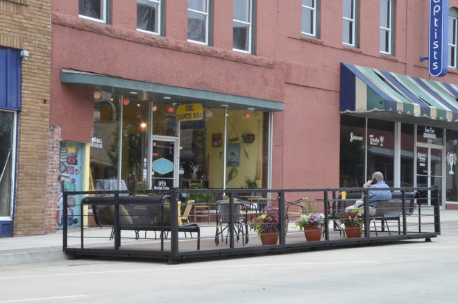 Over the weekend, volunteers moved the city's parklet a couple blocks along Main Street to its new temporary home at The Lunch Box, 217 E. Main, in Shawnee.