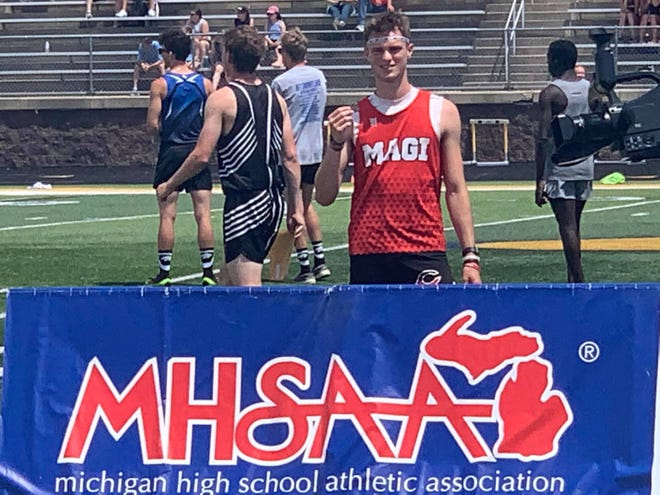 Alex Stoll of Colon finished second overall in the 110 hurdles at the state finals on Saturday.