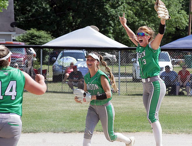 Mendon second baseman Izzy Smith (3) and Payton Griffith celebrate with Bailey Lash (14) following the last out on Saturday afternoon.