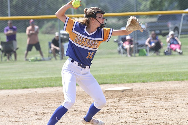 Centreville third baseman Sabrina Spence fires one off to first base to record an out against Bronson on Saturday.