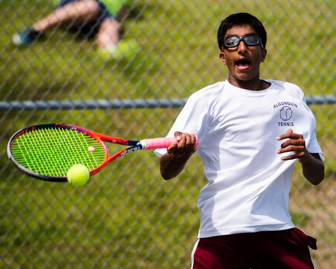 Algonquin's Bharathan Sundar competes during the Division 1 state tennis final at Shrewsbury High in 2019.