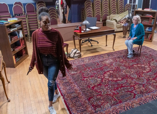 """Actresses Elizabeth A. Hylton, left, and Martha Hultgren rehearse a scene from the play """"The Niceties"""" at the Worcester County Light Opera Company."""