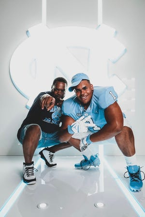 Five-star 2022 offensive tackle Zach Rice of Liberty Christian Academy in Virginia (right) took an unofficial visit to UNC on June 1, the day the NCAA Division I recruiting dead period expired. Rice's top five schools are Alabama, Notre Dame, Ohio State, Virginia and UNC.