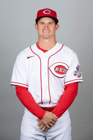 This is a 2021 photo of Mark Kolozsvary of the Cincinnati Reds baseball team. This image reflects the Cincinnati Reds active roster as of Tuesday, Feb. 23, 2021 when this image was taken. (Jennifer Stewart/MLB Photos via AP)