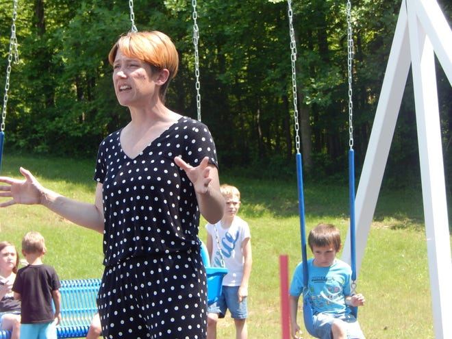 The Rev. Ashley Sherard Clarke dedicated the new public park at Beechwood Christian Church on June 5 with prayer and thanking the community and donors for support.