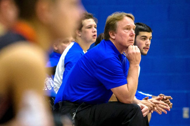 Pueblo Central High School boys basketball coach Brad Ranson looks on from the bench in a home game against Lamar on Jan. 9, 2018 at Jim Ranson Court. Brad also coaches baseball and boys golf at Central.