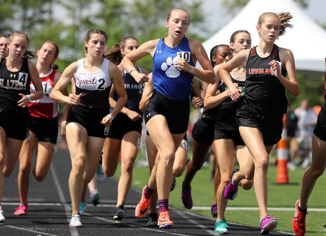 Davidson senior Lindsay Stull competes in the 800 meters during the Division I state meet June 5 at Darby. She won the race in 2 minutes, 10.35 seconds.