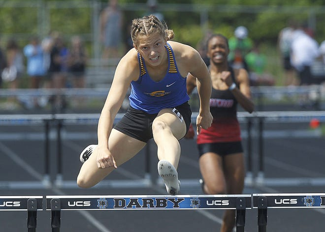 Gahanna's Camden Bentley won the Division I state title in the 300-meter hurdles in 43.18 seconds. She also finished second in the 100 hurdles (14.15) and ran on the third-place 800 relay (1:40.51).