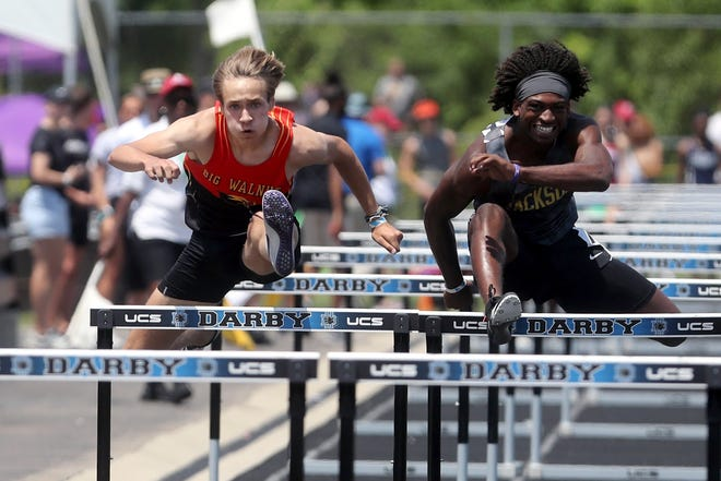 Big Walnut's Alec Carr and Massillon Jackson's D.J. Harris compete in the 110-meter hurdles during the Division I state meet June 5 at Hilliard Darby. Carr finished seventh in 14.84 seconds.
