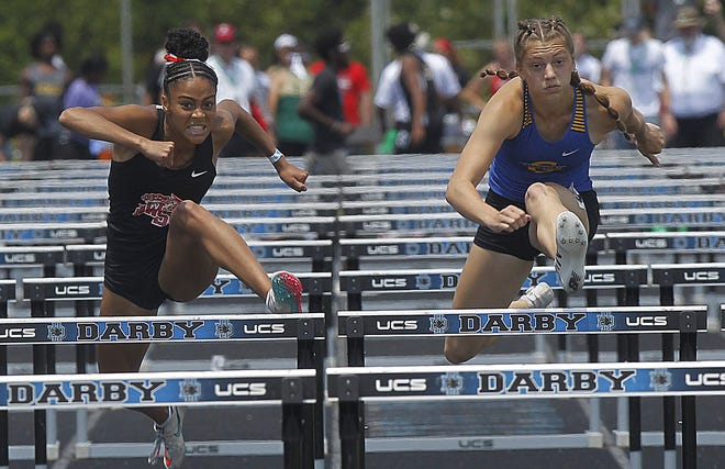 South's Marissa Saunders placed first (14.05 seconds) and Gahanna's Camden Bentley finished second (14.15) in the 100-meter hurdles in the Division I state meet June 5 at Hilliard Darby.