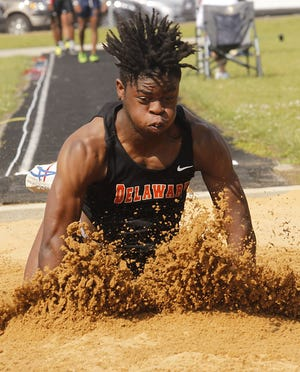 Delaware Hayes senior Orion Ward finished 10th in the long jump in the Division I state meet June 4 at Hilliard Darby. The next day, he placed fifth in the 100 meters and sixth in the 200.