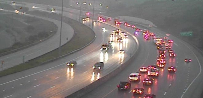 The two left lanes are blocked on I-75 North beyond Mitchell Ave, due to a crash on Monday, June 7.