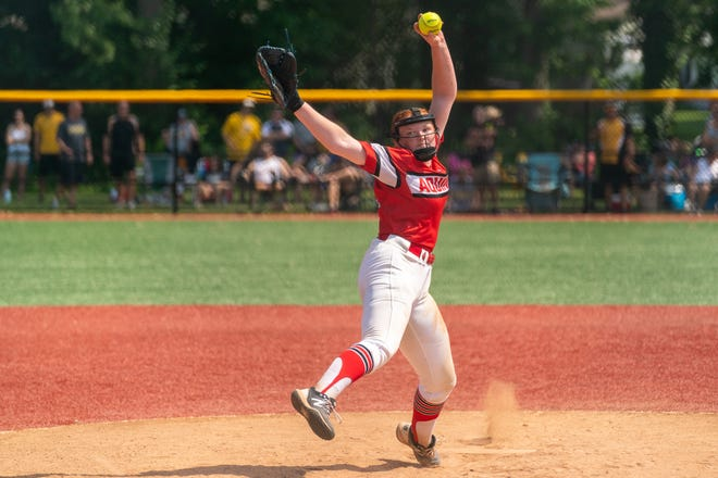 St. Thomas Aquinas' Paige Tidaback pitches against South Brunswick in the GMC Tournament final on Saturday, June 5, 2021 at Colonia Middle School.